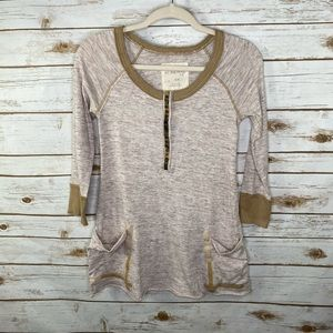 Free People oatmeal and tan Henley top